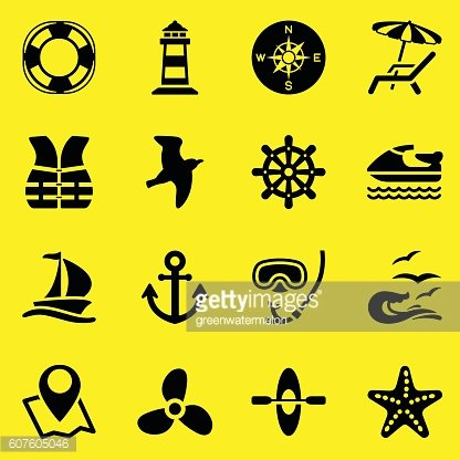 Sailing and Sea Icons-Yellow Background