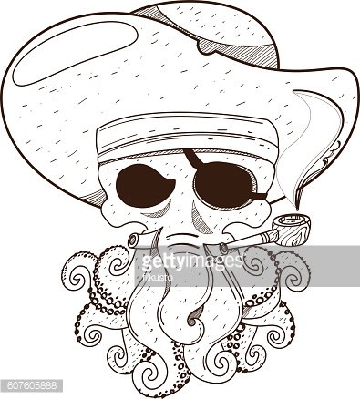 Pirate octopus. Illustration on the pirate theme.