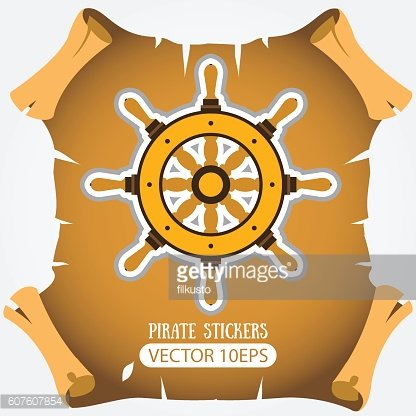 Ship wheel. Vector stickers on the pirate theme.
