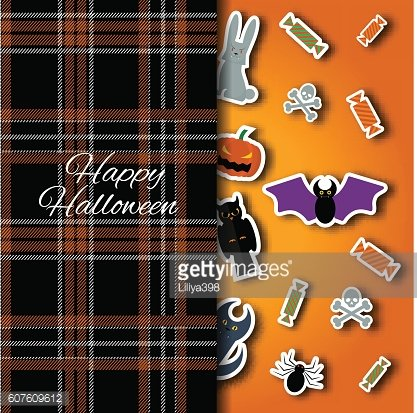 Happy Halloween background. Vector Flat Illustration. Signs and Symbols. Paper