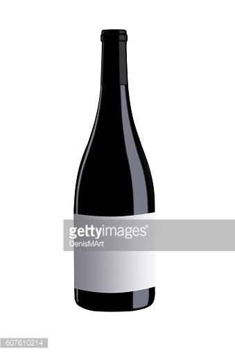 Bottle of red wine with white label on white background