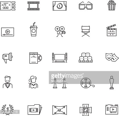 Cinema, movie, film, 3d television vector thin line icons