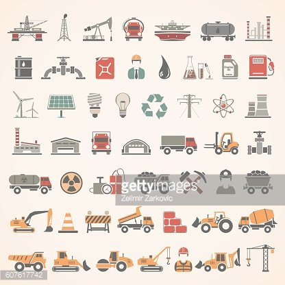 Flat Icons - Industry, Energy, Construction