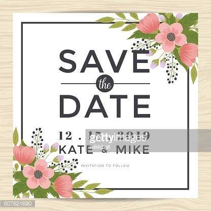 Save the date, wedding invitation card template with wreath flower.