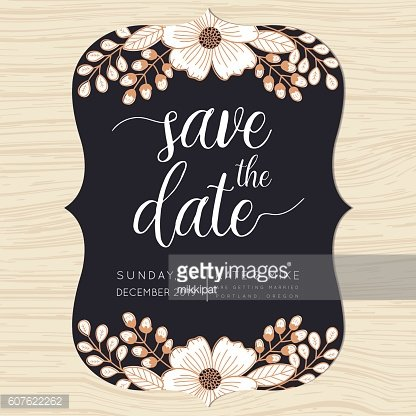 Save the date, wedding invitation card template with flower background.