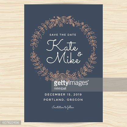 Save the date, wedding invitation card template with wreath frame.