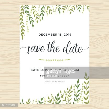 Garden leafs design for save the date card, wedding invitation.