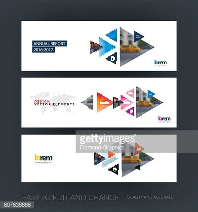 Vector set of modern horizontal website banners with moving tria