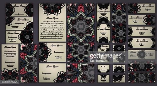 Business and invitation template Cards set with mandala ornament.