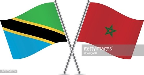 Tanzania and Morocco flags. Vector.