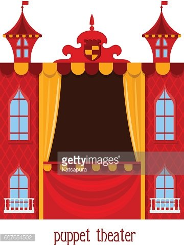 Puppet show. Illustration of children's theater