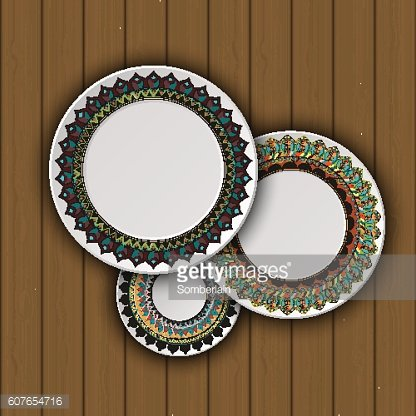 Set of decorative plates with a ethnic tribal ornament
