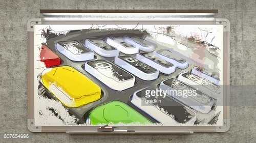 Hand drawing on a board terminal, 3d illustration
