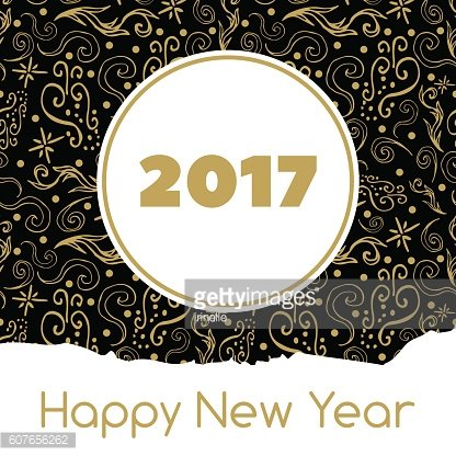 Happy New Year card vector with gold black ornament background.