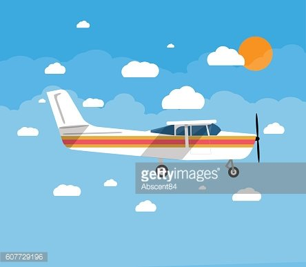 Small airplane in air with sky, clouds and sun