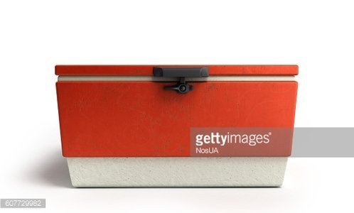 beach refrigerator Cooler red 3d render on a white background