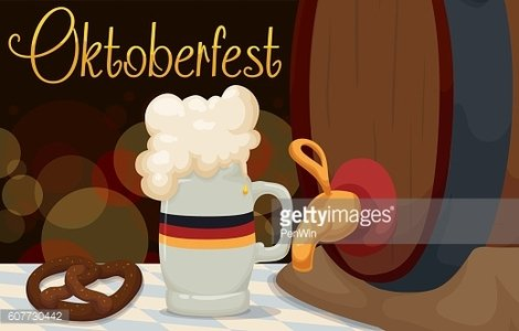 Banner with Traditional Food and Drink in Oktoberfest
