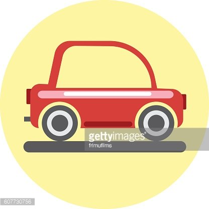 Digital vector red car icon on yellow circle