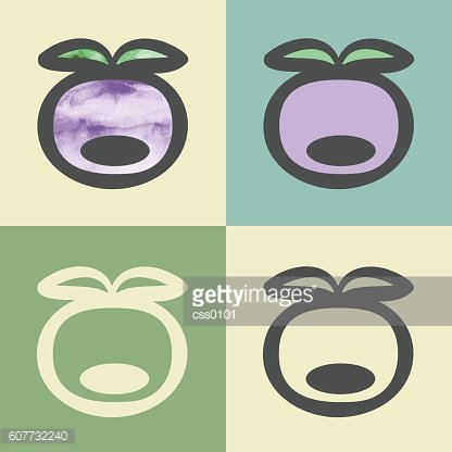 Vector outline plum icon with watercolor fill.