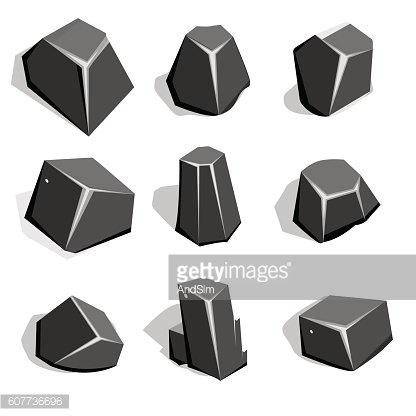 Vector set of coal ore or boulders. Isometric 2D game
