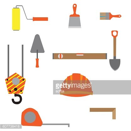 Set of construction equipment and tools, vector image. flat icon