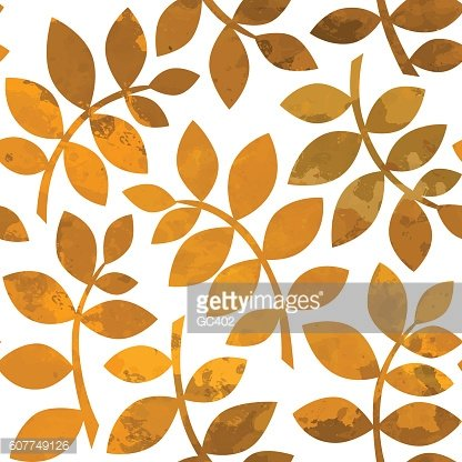 Seamless pattern with golden autumn leaves