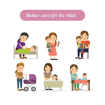 Mother Cares for Child Characters Set premium clipart