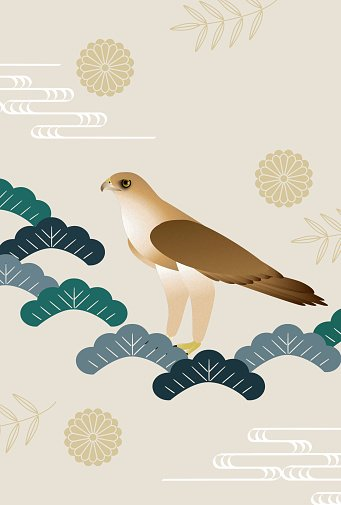 Hawk with Japanese nature patterns