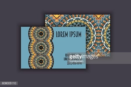 business visiting cards set. mandala, ethnic circle decorative elements .