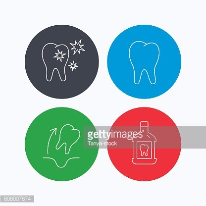 Tooth, mouthwash and healthy teeth icons.
