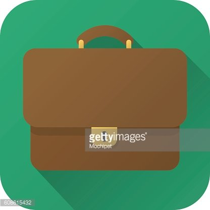 Flat icon of toy brown leather briefcase