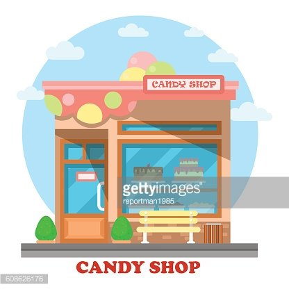 Confectionery store or shop building on street