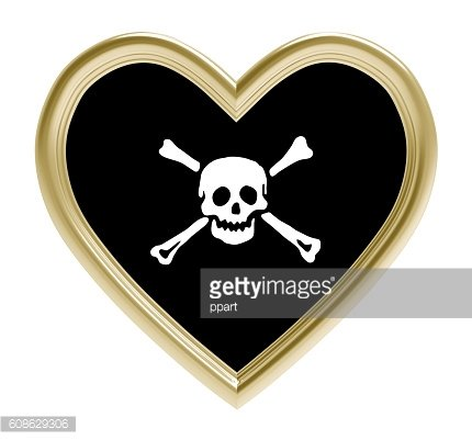 Pirate flag in golden heart isolated on white background.