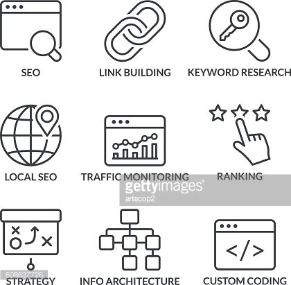 basic seo line icons with text