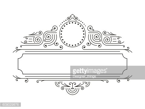 Vector floral frames in mono line style with copy space