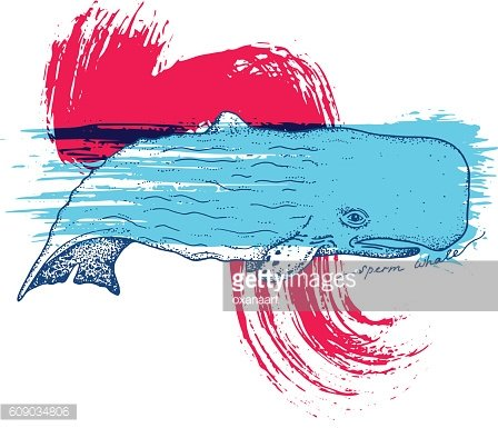 Big blue whale - vector hand drawn abstract illustration
