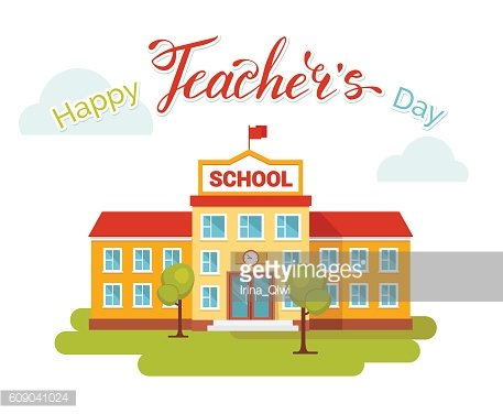 Happy teachers day concept with school building and text