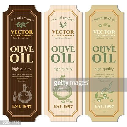 Labels olive oils hand drawn ink vector