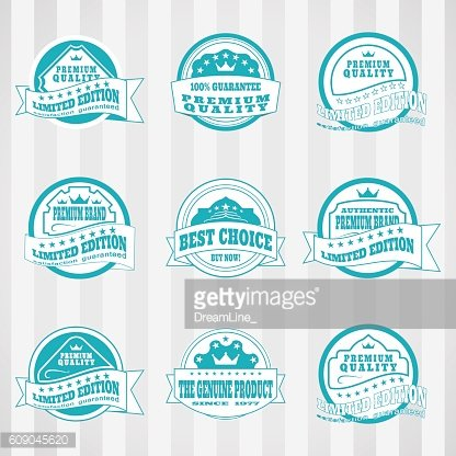 Vintage white and turquoise labels vector set.