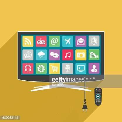 Illustration smart tv with remote control
