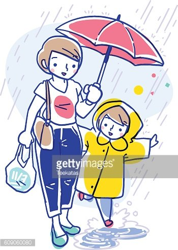 Illustration of mother and daughter in raincoat in the rain