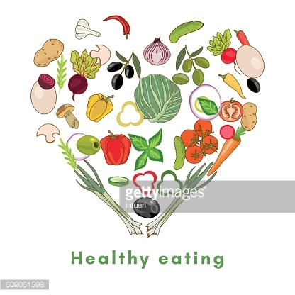 Heart shape by various vegetables healthy eating