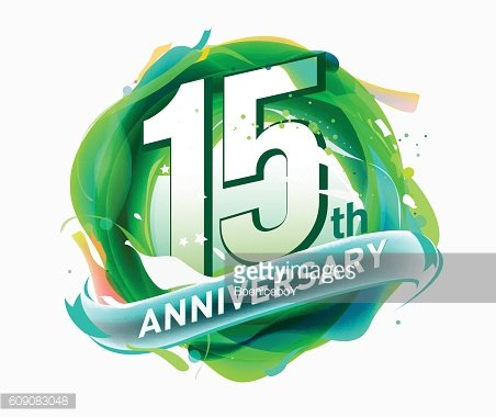 15th anniversary. abstract background with icons and element