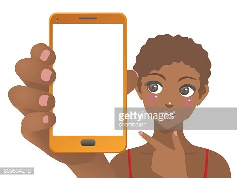 young woman holding smart phone and pointing screen
