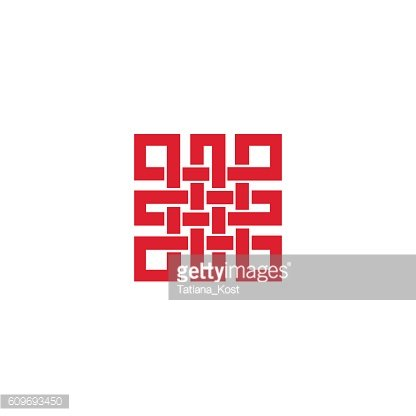 Endless knot sign.Red
