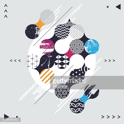Abstract geometric composition with decorative circles