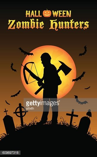 halloween zombie hunter with crossbow at graveyard