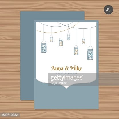 Vector wedding invitation card set with envelope.