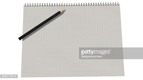Blank spiral bound notebook with squared paper and pencil