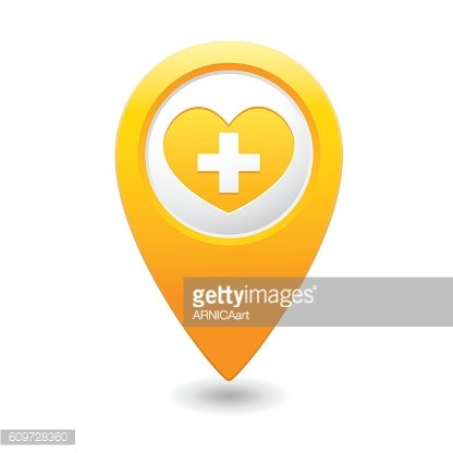 Map pointer with medical heart and cross icon